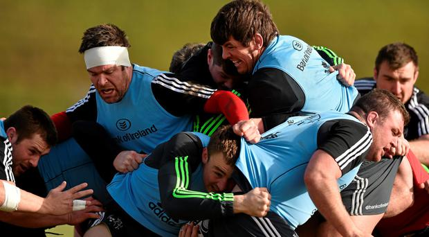 Munster players, including CJ Stander, Billy Holland, Jack O'Donoghue, Donncha O'Callaghan, Tommy O'Donnell, Dave Kilcoyne and Niall Scannell contest a maul during squad training
