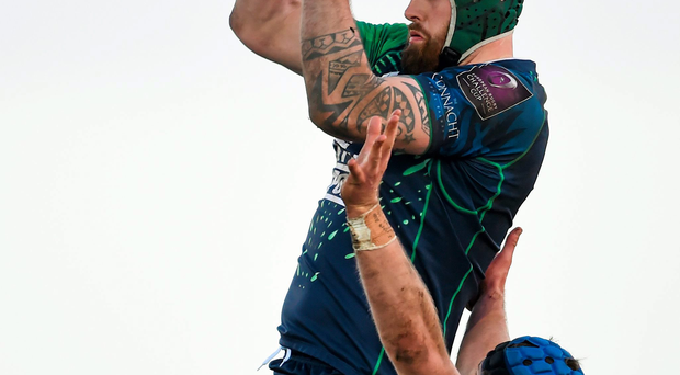 Connacht's Aly Muldowney takes possession ahead of Dean Mumm of Exeter Chiefs during their Challenge Cup clash last month