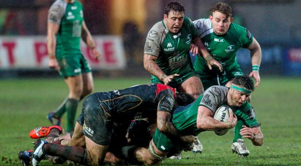 Connacht's Eoghan Masterson is tackled by Dragons' Nick Crosswell during last week's win which was vital for their top-six hopes