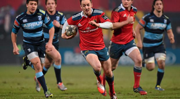 Former Cork hurler Darren Sweetnam looked comfortable against Cardiff and is one of Munster's young players who are making the most of the absence of the province's international players