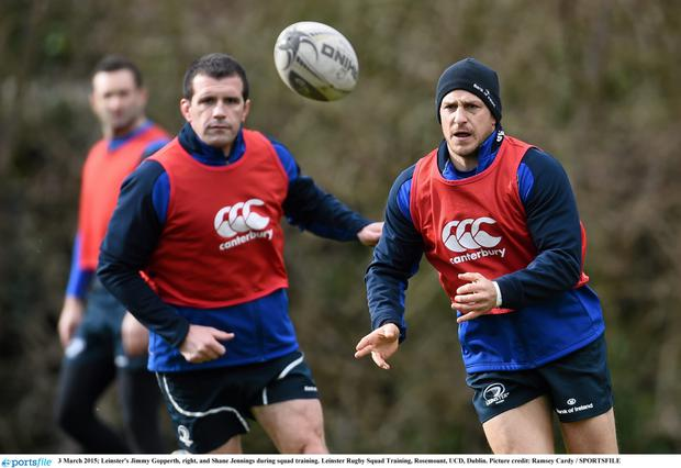 Jimmy Gopperth in action alongside Shane Jennings during training at UCD this week. Photo: Ramsey Cardy / SPORTSFILE