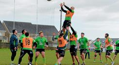 Connacht's John Muldoon wins possession in a line-out at training in the Sportsground this week SPORTSFILE