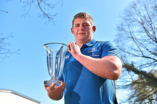 Leinster's Tadhg Furlong receives the Leinster Player of the Month award for February / March