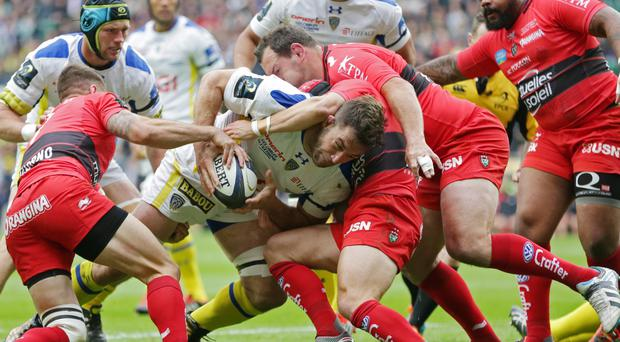 Clermont's Jamie Cudmore takes on the Toulon defence in yesterday's Champions Cup final at Twickenham