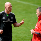 Paul O'Connell and Anthony Foley chat during training ahead of the crucial clash against Ulster