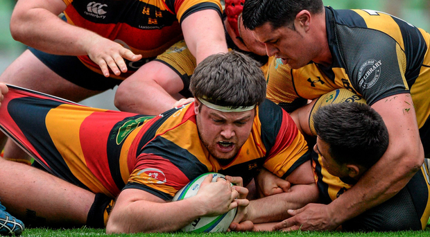 Tyrone Moran scores the winning try for Lansdowne during their victory against Clontarf