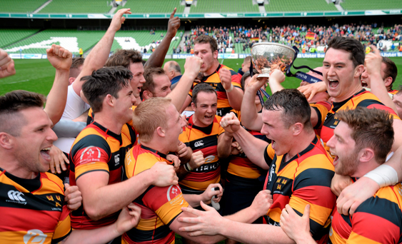 Lansdowne players celebrate after rounding off a successful season with victory over Clontarf in the Aviva Stadium last Saturday