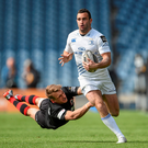 Dave Kearney, Leinster, is tackled by Tom Brown, Edinburgh.