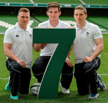 Attending the launch of the Ireland Men's Sevens Squad were Matthew D'Arcy (St Mary's), Tom Daly (Lansdowne) and Cian Aherne (Lansdowne)