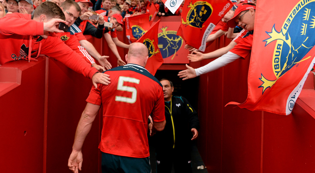 Paul O'Connell is applauded off the field by the Thomond Park crowd after playing his last home game for Munster last weekend.