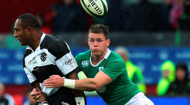 Barbarians' Joe Rokocoko tackled by Ireland's Craig Gilroy during the friendly match at Thomond Park, Limerick