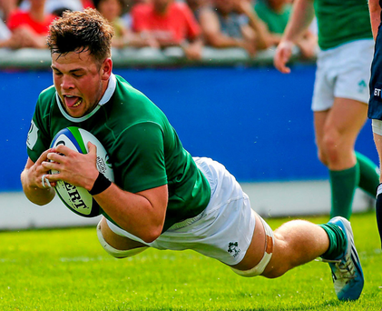 Conor Oliver scores Ireland's second try