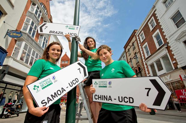Ireland players Louise Galvin, Lucy Mulhall and Jenny Murphy at the announcement that the IRFU have been selected to host the World Rugby Women's Sevens Series Qualifier 2015, which features 12 teams, including Olympic-qualified Brazil and Colombia