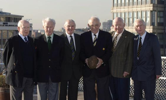 Michael Flanagan, far right, at a 1948 rugby reunion in 2005