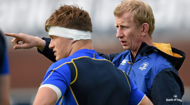 Leinster head coach Leo Cullen with Josh van der Flier ahead of last week's game against the Cardiff Blues