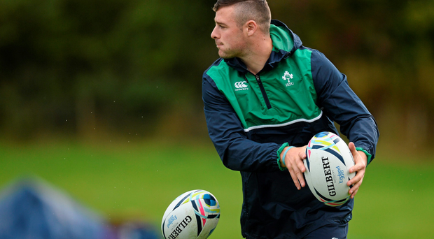 Robbie Henshaw, at Ireland's team base in St George's Park, Burton-upon-Trent yesterday, is set to play on Sunday, presuming he makes it through the week unscathed