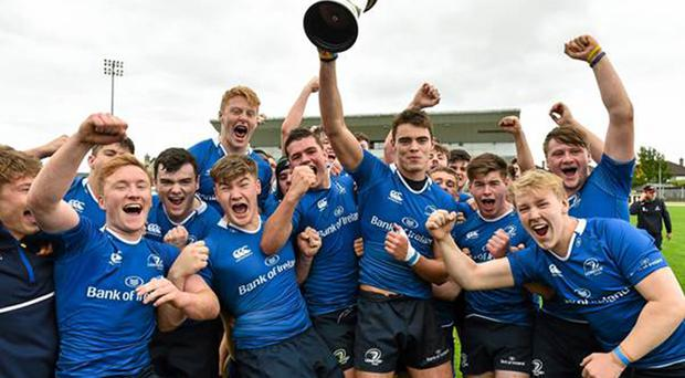 The Leinster U-18s celebrate after retaining the inter-pro trophy