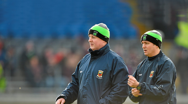 Joint Mayo managers Pat Holmes, left, and Noel Connelly tendered their resignations with 'heavy hearts' to the county board last night in the wake of the players' vote of no confidence in them earlier this week