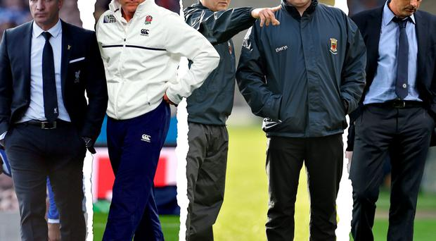Pitch battles: Axed Liverpool boss Brendan Rodgers, England rugby manager Stuart Lancaster, departed Mayo management team Pat Holmes and Noel Connolly and Chelsea boss Jose Mourinho.