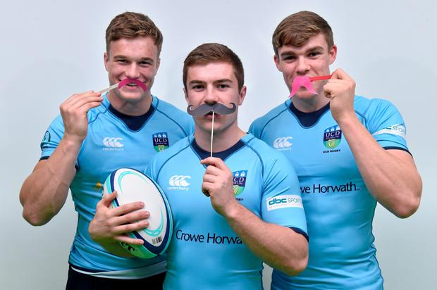 Leinster, Ireland and UCD's young rugby stars Garry Ringrose, left, Josh Van der Flier, right, and Luke McGrath at the launch of Movember in UCD, Dublin