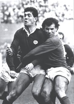 My return to the national team in 1986, my first match for Ireland in two years. I think the overall score of losing 10–9 hurt less than tackling Gavin Hastings!