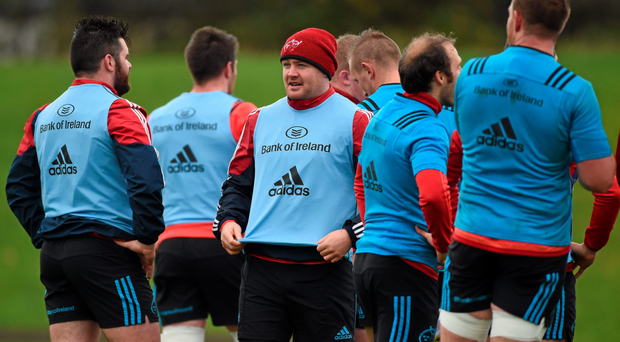 Munster's Dave Kilcoyne in conversation with Kevin O'Byrne during training at the University of Limerick