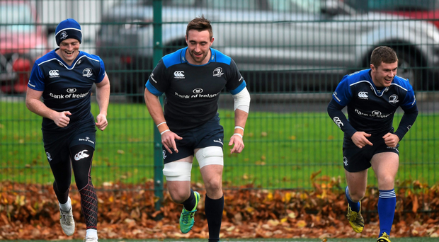 Leinster's Cathal Marsh, left, and Jack Conan at training before the latter's foot injury