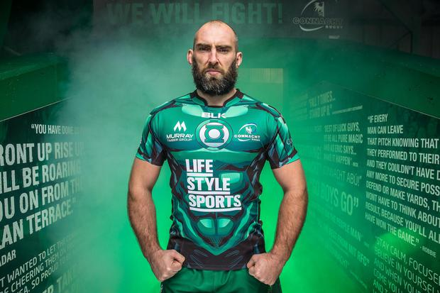John Muldoon at the launch of the limited edition Connacht Green Lantern jersey yesterday