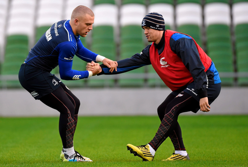 Leinster's Ian Madigan, left, and Colm O'Shea go through their paces at the Aviva Stadium yesterday Picture: Stephen McCarthy / SPORTSFILE