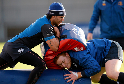 Leinster's Isa Nacewa, left, and Oisin Heffernan during training (Photo: Sportsfile)