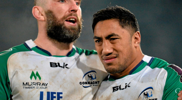 John Muldoon with Bundee Aki after the game