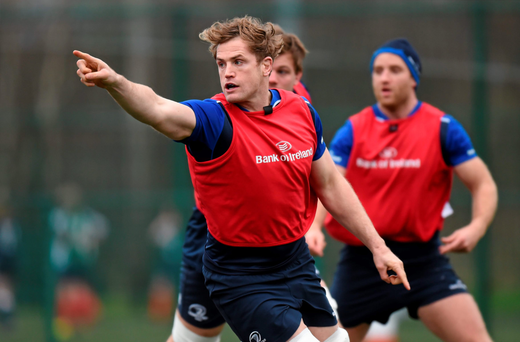 Jamie Heaslip points the way during Leinster training in UCD (SPORTSFILE)