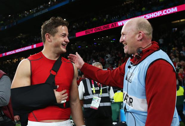 Wales wing Hallam Amos (left, with Neil Jenkins) has been released to the Dragons and will have a point to prove (Getty)