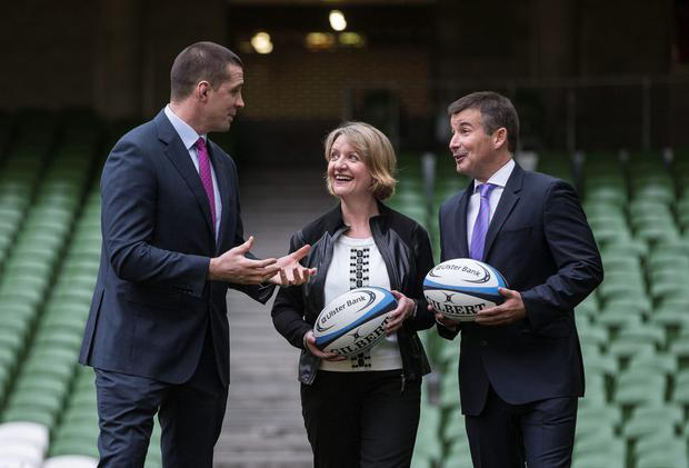 Alan Quinlan, Maeve McMahon, director of customer experience and products, Ulster Bank, and Pádraig Power, IRFU director of commercial and marketing, were on hand as Ulster Bank announced the extension of their partnership with the IRFU. The bank has supported club rugby for the past six years, investing in a number of initiatives including providing over €160,000 in funding through its RugbyForce programme. Ulster Bank will continue as title sponsors of the All-Ireland League until 2018 as well as Official Community Rugby Partner to the IRFU, which includes the Club International Photo: INPHO/Morgan Treacy