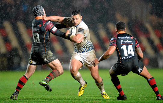 Leinster's Ben Te'o is tackled by Adam Hughes of Newport Dragons Photo: Sportsfile