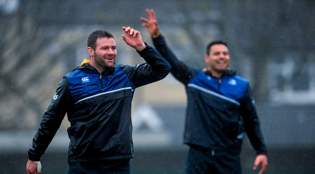 Fergus McFadden and Ben Te'o in high spirits during training Photo: Sportsfile