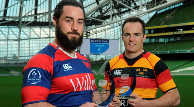 Clontarf's Mick McGrath (Top Try Scorer) and Lansdowne's Scott Deasy (Top Points Scorer) with their Ulster Bank League awards (SPORTSFILE)