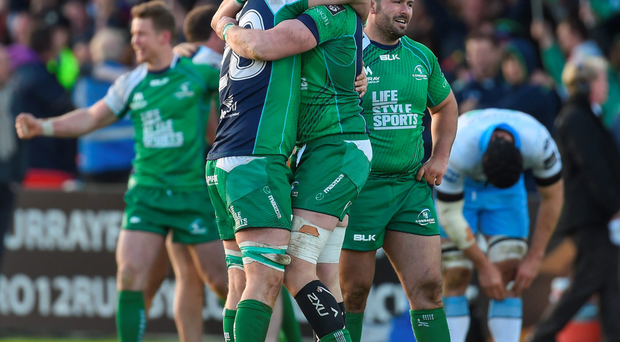 Sean O'Brien and Andrew Browne celebrate at the final whistle last night. Photo: Ramsey Cardy/Sportsfile