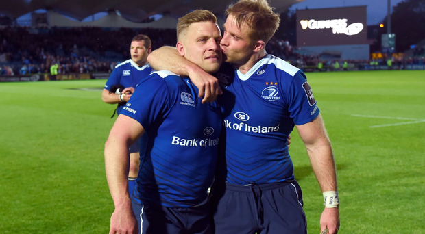 Ian Madigan with Luke Fitzgerald after Leinster's victory over Ulster. Photo: SPORTSFILE
