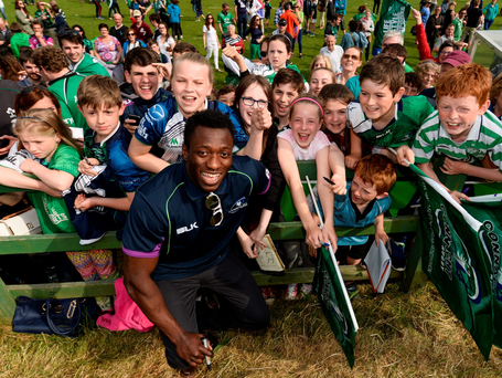 Connacht's Niyi Adeolokun with fans during the homecoming after their Pro12 victory. Photo: Diarmuid Greene/Sportsfile
