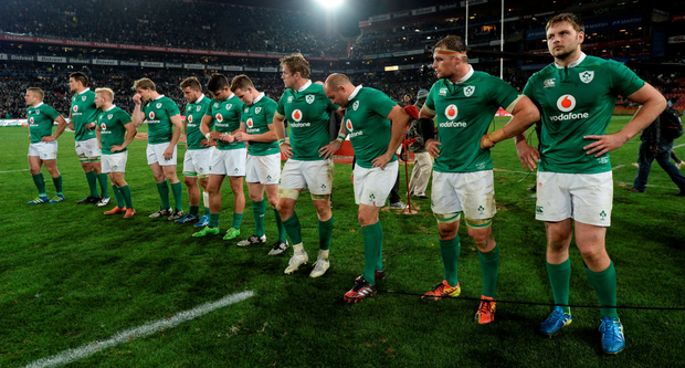 Disappointed Ireland players after the second Test against South Africa in Johannesburg. Photo: Brendan Moran