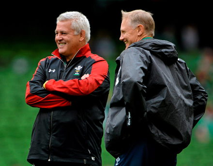 Warren Gatland chatting with Ireland coach Joe Schmidt last year before a World Cup warm-up game