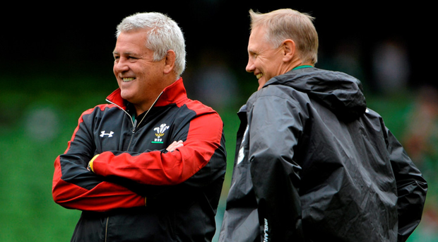 Warren Gatland chatting with Ireland coach Joe Schmidt