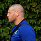 A shaven-headed Mike Ross arrives at the RDS for last Friday's match against Ospreys with his Best Menswear suit