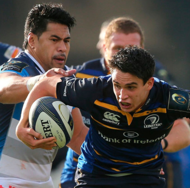 Joey Carbery is tackled by Castres's Antoine Dupont. Picture: PA