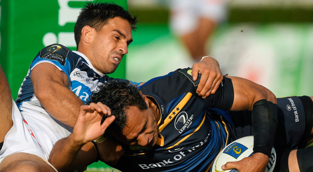 Leinster's Isa Nacewa scores his side's fourth try despite the tackle of Robert Ebersohn of Castres as the Blues ran out 33-15 winners in their Champions Cup game at the RDS. Picture: Sportsfile