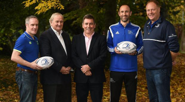 Coach Development Officer Derek Maybury, Gerry Murphy, Leinster CEO Mick Dawson, St Mary's University's Michael Ayres, and Domestic Rugby Manager Philip Lawlor