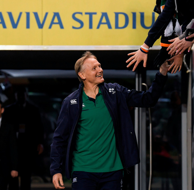 Joe Schmidt high-fives a supporter ahead of Saturday's game. Photo: Sportsfile