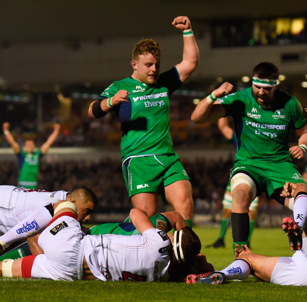 Connacht players celebrate as James Connolly goes over to score his side's third try in their victory over Ulster in the Sportsground back in October, but their chances of a repeat win tonight have been dented by a series of injuries. Photo: Sportsfile