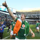 Jamie Heaslip celebrates Ireland's first win over the All Blacks in Soldier Field